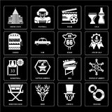 Set of Cracker, Lincoln, Director chair, Bbq, Basketball, Eagle, Casino, Movie, Empire state icons Stock Photography