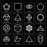 Set of Cylinder, Cone, Triangle, Cube, Shutter, Octahedron, Dodecahedron, Square, Pentagon icons. Set Of 16 icons such as Cylinder, Cone, Transform, Triangle Royalty Free Stock Images