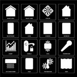 Set of Deep, Temperature, Air conditioner, Cool, Chart, Window,. Set Of 16 icons such as Deep, Temperature, Plug, Air conditioner, Microphone, Smart home Stock Illustration