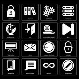 Set of Forbidden, Infinity, Notebook, Volume control, Television. Set Of 16 icons such as Forbidden, Infinity, Notification, Notebook, Locked, Worldwide vector illustration