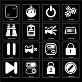 Set of Forbidden, Locked, Next, Switch, Pause, Speaker, Binoculars, Frame icons royalty free illustration