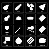 Set of Hamburguer, Hot dog, Seeds, Sushi, Glass, Pie, Radish, Po. Set Of 16 icons such as Hamburguer, Hot dog, Fig, Seeds, Asparagus, Pear, Radish, Glass, Pie Royalty Free Illustration