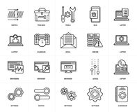 Set of  Browsers, Hardware, Settings, Switch, Laptop, Browser, Calendar, Server, Laptop icons. Set Of 20 icons such as Hardware, Settings, Switch, Laptop, Server Royalty Free Stock Images
