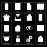 Set of Home, Temperature, Security camera, Smart, Intercom, Smar. Set Of 16 icons such as Home, Temperature, Socket, Security camera, Fire alarm, Battery, Smart royalty free illustration