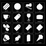 Set of Ice cream, Milk, Cauliflower, Pasta, Potatoes, Glass, Tea. Set Of 16 icons such as Ice cream, Milk, Radish, Cauliflower, Chips, Hot dog, Tea, Potatoes Vector Illustration