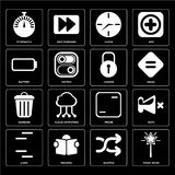 Set of Magic wand, Shuffle, Lines, Frame, Garbage, Locked, Batte. Set Of 16 icons such as Magic wand, Shuffle, Reading, Lines, Mute, Stopwatch, Battery, Garbage Royalty Free Illustration