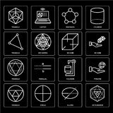 Set of Octahedron, Ellipse, Triangle, Cylinder, 3d cube, Pentagon, Triangle icons. Set Of 16 icons such as Octahedron, Ellipse, Circle, Triangle, Pyramid, 3d Royalty Free Stock Image