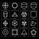 Set of Pentagon, Cone, Circle, Combination, Octahedron, Dodecahedron, Cylinder, Worldwide icons. Set Of 16 icons such as Pentagon, Cone, Cube, Circle, Transform Royalty Free Stock Photography