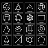 Set of Pentagon, Cube, Tetrahedron, Squares, Pyramid, Cylinder, Shutter icons. Set Of 16 icons such as Pentagon, Cube, Crown, Tetrahedron, Dodecahedron, Shutter Royalty Free Stock Image