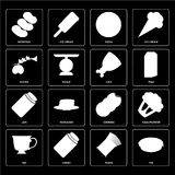 Set of Pie, Pasta, Tea, Cookies, Jam, Ham, Olives, Pizza, Potato. Set Of 16 icons such as Pie, Pasta, Honey, Tea, Cauliflower, Potatoes, Olives, Jam, Ham, web UI Royalty Free Illustration