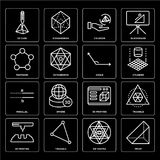 Set of Prism, Sri yantra, 3d printing, Parallel, Angle, Pentagon, Cylinder, cube icons. Set Of 16 icons such as Prism, Sri yantra, Triangle, 3d printing, cube Royalty Free Stock Photo