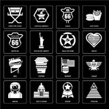Set of Pyramid, Badge, Indian, Burger, Bbq, Walk fame, Route 66, Eagle, Director chair icons Royalty Free Stock Images