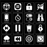 Set of Restart, Stop, Cloud computing, Trash, Skip, Switch, Smar. Set Of 16 icons such as Restart, Stop, Rewind, Cloud computing, Lock, Help, Smartphone, Skip Royalty Free Illustration