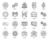 Set of  Levels, Settings, Email, Browser, Calendar, Toolbox, Settings icons. Set Of 20 icons such as Settings, Email, Toolbox, Browser, Levels, Calendar, Laptop Royalty Free Stock Photo