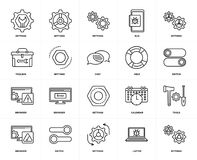 Set of  Browser, Settings, Laptop, Switch, Tools, Toolbox, Help, Settings icons. Set Of 20 icons such as Settings, Laptop, Switch, Browser, Help, web UI editable Royalty Free Stock Photo