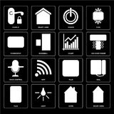 Set of Smart home, Home, Plug, Voice control, Chart, Thermostat, Power, Handle icons. Set Of 16 icons such as Smart home, Home, Light, Plug, Dial, Handle vector illustration