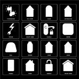 Set of Smart home, Unlock, Mobile, Home, Dial, Handle, Power, Do. Set Of 16 icons such as Smart home, Unlock, Home, Mobile, Temperature, Power, Dial, Handle, web Stock Illustration