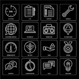 Set of Solution, Chat, Support, User, Speedometer, Briefcase, Customer service, 24 hours icons. Set Of 16 icons such as Solution, Chat, Chronometer, Support Stock Photo