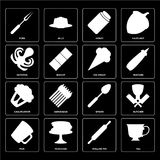 Set of Tea, Rolling pin, Mug, Spoon, Cauliflower, Ice cream, Oct. Set Of 16 icons such as Tea, Rolling pin, Pancakes, Mug, Butcher, Fork, Octopus, Cauliflower royalty free illustration