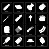 Set of Toast, Jelly, Ice cream, Chives, Flour, Fork, Salt, Mustard icons. Set Of 16 icons such as Toast, Jelly, Pickles, Ice cream, Sausage, Mustard, Fork, Flour stock illustration