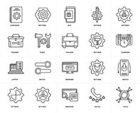 Set of  Laptop, Tools, Rating, Settings, Switch, Browser, Toolbox, Hardware, Settings icons. Set Of 20 icons such as Tools, Rating, Browser, Settings, Laptop Stock Images