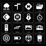 Set of Trash, Help, Stop, Photos, Server, Lock, Back, Skip, Cloud computing icons vector illustration