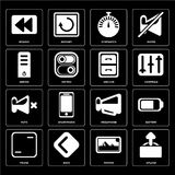 Set of Upload, Photos, Frame, Megaphone, Mute, Archive, Server,. Set Of 16 icons such as Upload, Photos, Back, Frame, Battery, Rewind, Server, Mute, Archive, web Royalty Free Illustration