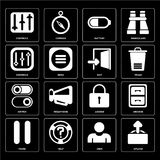 Set of Upload, User, Pause, Locked, Switch, Exit, Controls, Batt. Set Of 16 icons such as Upload, User, Help, Pause, Archive, Controls, Switch, Exit, web UI Stock Illustration