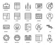 Set of  Browser, User, Display, Brightness, Chat, Indent, Layout, Briefcase, User icons. Set Of 20 icons such as User, Display, Calendar, Brightness, Settings Stock Image