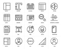 Set of  Document, User, Levels, Smartphone, Layout, Display, Browser, Search, Volume icons. Set Of 20 icons such as User, Levels, Chat, Display, Volume, Search Royalty Free Stock Image