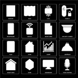 Set of Voice control, Dashboard, Smart home, Chart, Plug, Smartp. Set Of 16 icons such as Voice control, Dashboard, Home, Smart home, Lightbulb, Window royalty free illustration