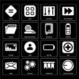Set of Volume control, Bookmark, Send, Battery, Picture, Noteboo. Set Of 16 icons such as Volume control, Bookmark, Settings, Send, Add, Equal, Folder, Picture Vector Illustration