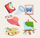 Set of icons for summer activities. Set of colored icons for summer activities with a butterfly net, journal, straw sunhat, sunglasses, artists palette and easel Stock Images