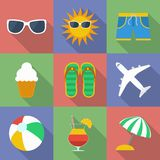 Set of icons of Summer travel theme. Modern flat style with a long shadow Stock Photos