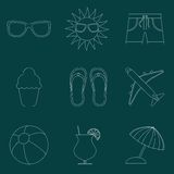 Set of icons of Summer travel theme. Simple line style Royalty Free Stock Image