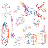 Set of icons summer and vacation background Stock Images