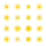 Set of icons sun,  illustration. Collection of icons sun,  illustration Royalty Free Stock Image