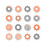 Set with icons - the sun Royalty Free Stock Photos