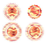 Set of icons suns consisting of polygonal elements. Stock Photography