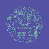 Set of icons of sweet cocktails, desserts, ice cream. Set of icons of sweet cocktails, desserts, ice cream for menu book illustration, stickers or mobile Royalty Free Stock Images