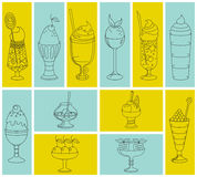 Set of icons of sweet cocktails, desserts, ice cream. Stock Photography