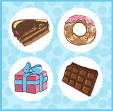 Set of icons of sweets with chocolate cake, donut, chocolate and Stock Photos