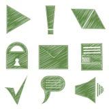 Set icons, symbols, arrows, checkmark, envelope Stock Photos