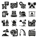 Set of icons and symbols for camping and hiking. stock illustration