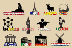 Set of icons symbols capitals Europe.vector illustrayion Royalty Free Stock Photos