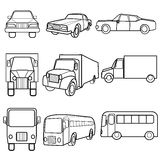 Set icons symbols car, truck, bus Stock Images