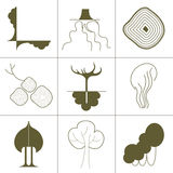 Set of icons, symbols of green plants, trees, roots and crowns a green silhouette on a white background. Green silhouettes on a white background Stock Photo
