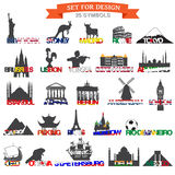 Set of icons symbols world capitals Stock Photo