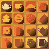 Set of 16 icons. Tea time. Brown tones Royalty Free Stock Image