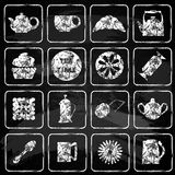 Set of 16 icons. Tea time. Chalk board. Stock Images